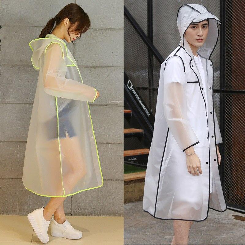 긴 레인 코트 EVA 두꺼운 Rainwear 여성 남성 레인 코트 방수 판초 하이킹 낚시 투어 후드 비 코트