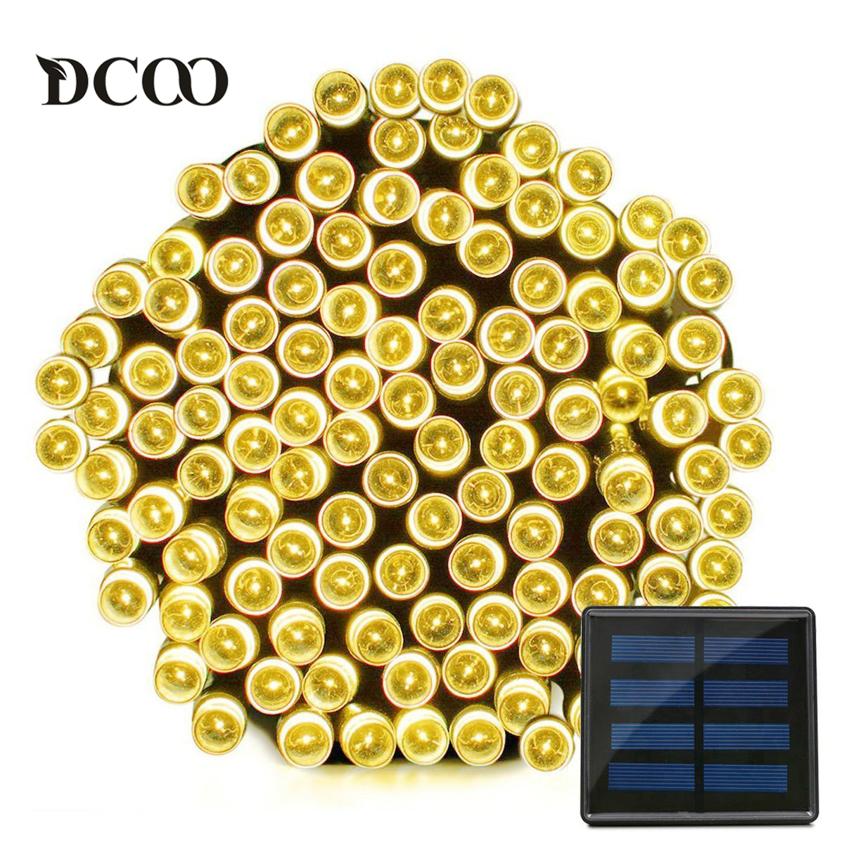 Dcoo Solar LED-stränglampor 22 meter 200 lysdioder Vattentät 8 Modes Fairy Christmas Lights Outdoor Lighitng Garden Party Lights