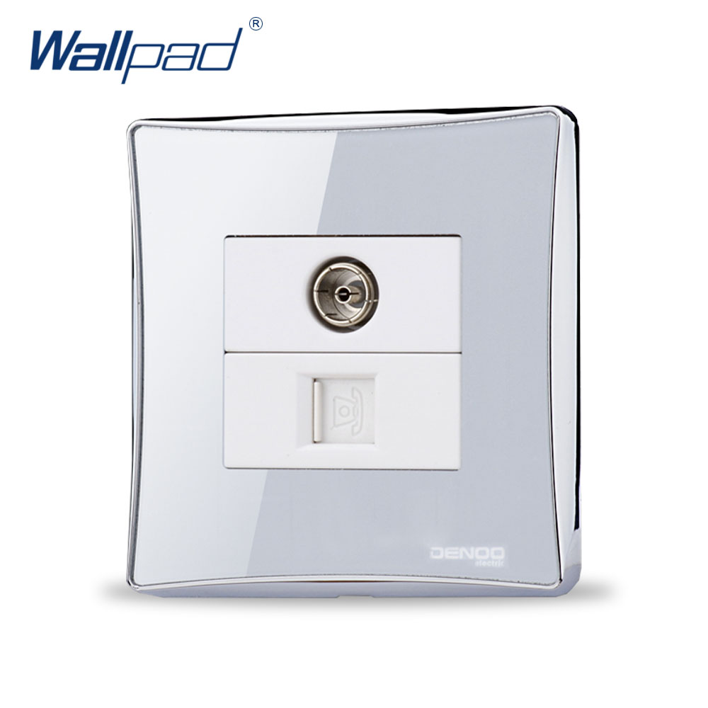 TV and TEL Socket Free Shipping Hot Sale China Manufacturer Wallpad Luxury Push Button Wall Light Switch Arylic Glass Panel double computer socket free shipping hot sale china manufacturer wallpad push button luxury arylic mirror panel wall