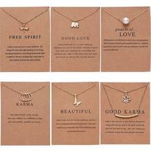 Rinhoo papillon éléphant perle d'amour couleur or pendentif colliers clavicule chaînes collier mode collier femmes bijoux