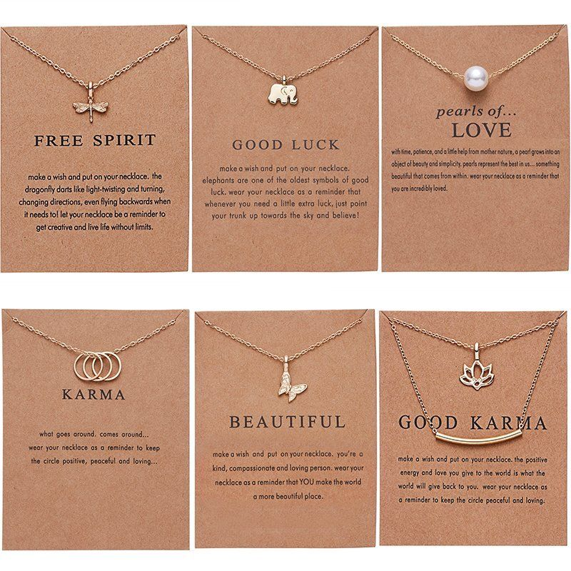 Rinhoo Butterfly Elephant Pearl Of Love Gold-color Pendant Necklaces Clavicle Chains Necklace <font><b>Fashion</b></font> Necklace Women Jewelry image