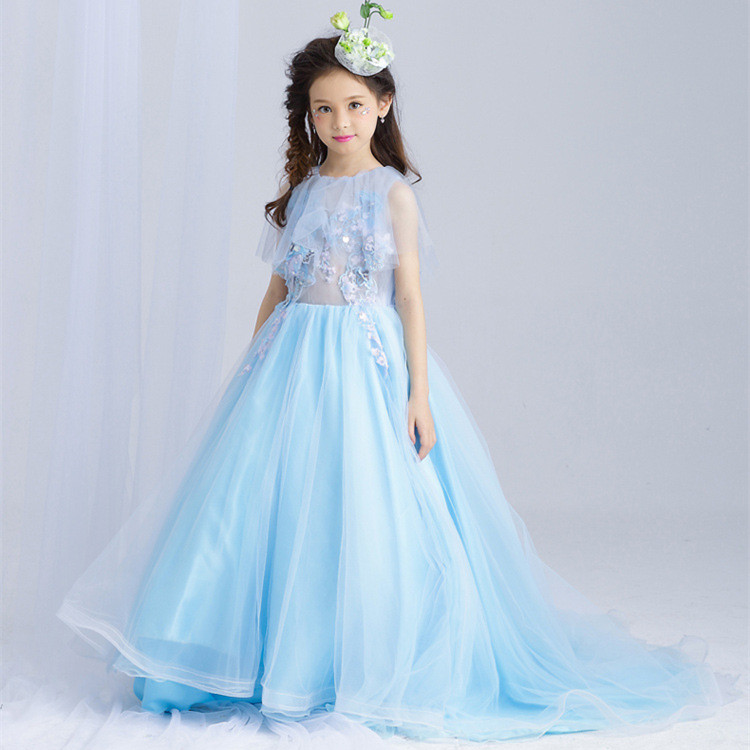 Train Fancy Girls Dress Princess Blue Vestidos De Fiesta Largos Elegantes De Gala 2018 Girl Clothes 4 6 8 10 12 14 Years 184001 цена