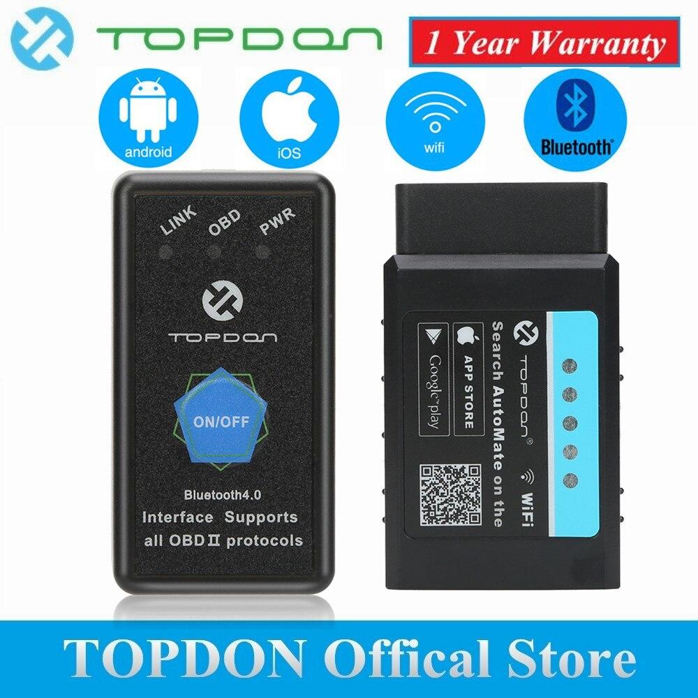 TOPDON V1.5 ELM327 Bluetooth OBD2 Scanner Automotive OBD Diagnostic Tool WIFI AutoMate Super Mini ELM 327 Code Reader Scan Tool