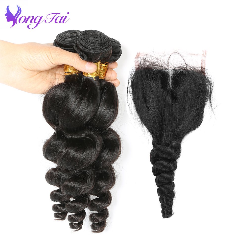 YongTai Hair Product Loose Wave Hair bundles with Closure Brazilian Hair Weave Bundles With closure 4Pcs/lot Non Remy Hair