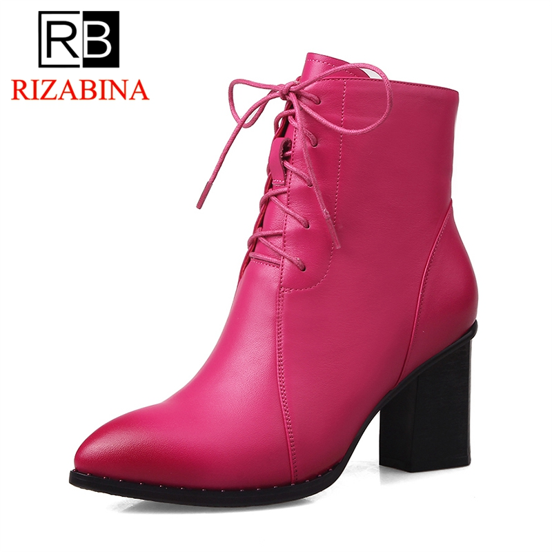RIZABINA Women Ankle Boots Cow Leather Red Color Goth Boots Pointed Toe Autumn Spring High Heel Motorcycle Boots Size 34-43RIZABINA Women Ankle Boots Cow Leather Red Color Goth Boots Pointed Toe Autumn Spring High Heel Motorcycle Boots Size 34-43