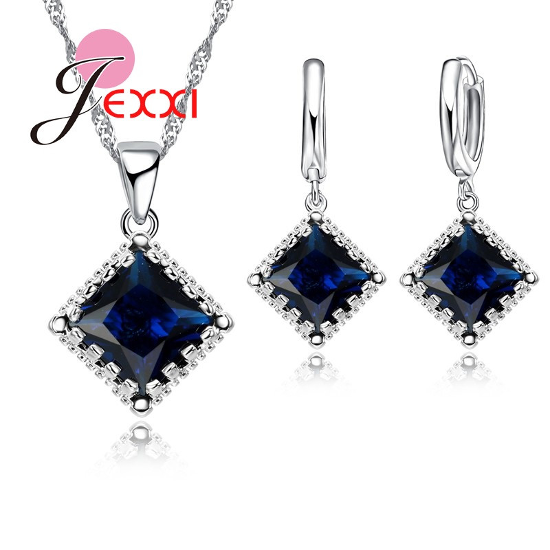 Silver Bridal Jewelry Sets For Wedding Accessory Elegant Women Sapphire Pendant Necklaces And Earring Set