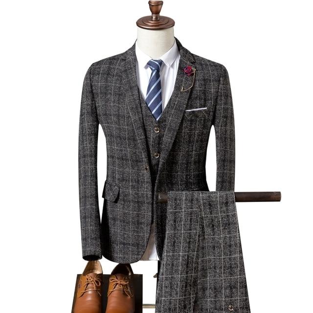 Men's Wedding Plaid Suit 2018 Spring Autumn Slim Fit Wedding Male 3 Piece Business Formal Groomsmen Suit (Jacket+Vest+Pants)