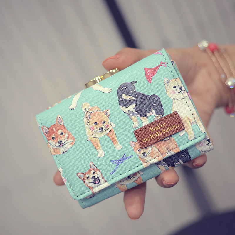 New luxury Women Short Wallets Cute Girls Cartoon Animal Prints Purses Hasp PU Leather Girls Small Wallet Coin Purse Card Holder