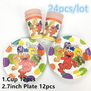 24 шт./лот одноразовый набор посуды с изображением животных из мультфильма на тему Улица Сезам, день рождения, детские чашки для душа, вечерни...