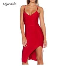 New Arrival Lady Fashion Red Deep V-Neck Spaghetti Strap Split Sexy  Nightclub Celebrity Runway Party Bodycon Women Bandage Dress 977d821e4e4b