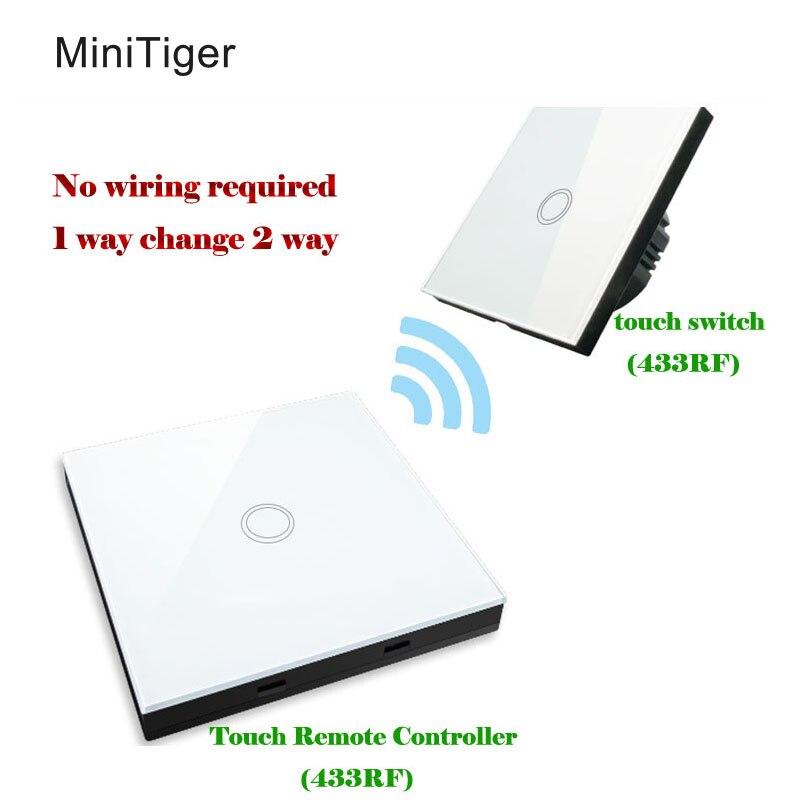 Minitiger eu standard wand licht touch schalter + wireless switches form fernbedienungen, freies verdrahtung der steuer abstand 30 mt