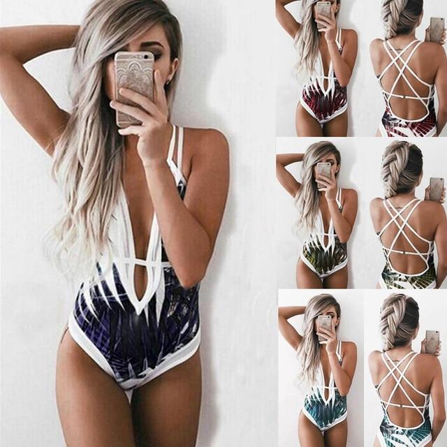 032d33903b0f2 Bikinis 2019 Woman Swimwear Women One Piece Swimsuit Female Leaf Print  Bathing Suit Backless Bandage Monokini Bather Bath Suits