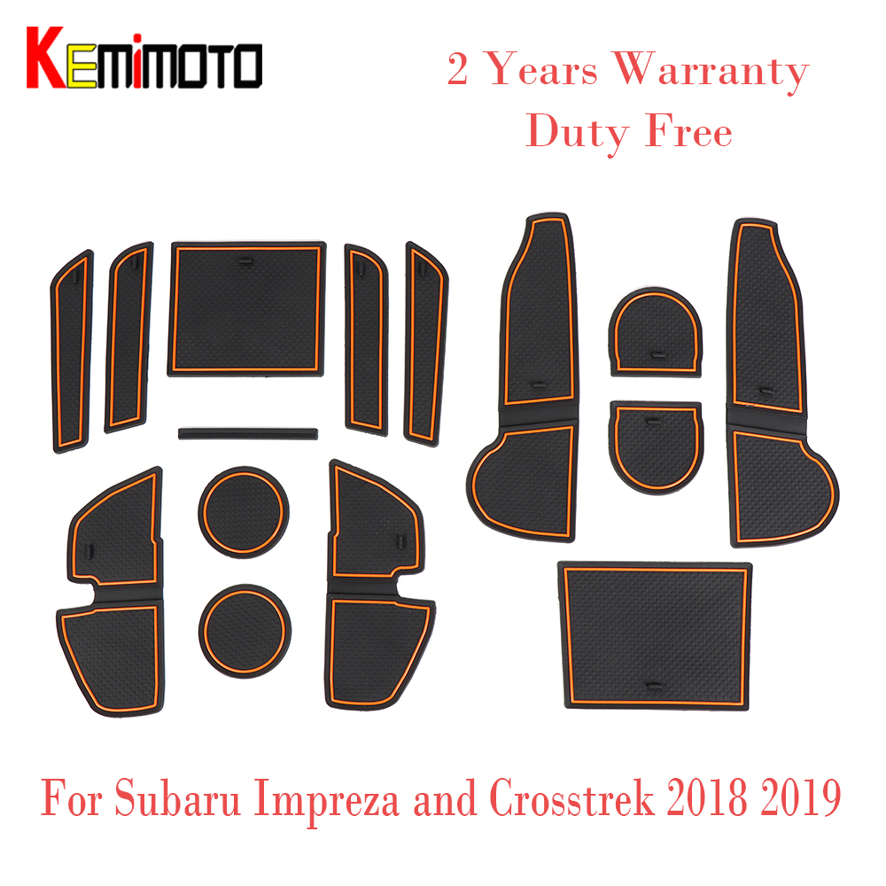 14pcs Door Groove Mat For Subaru Impreza Crosstrek 2018 2019 Rubber Mat Anti-Slip Gate Slot Cup Pad Car Styling