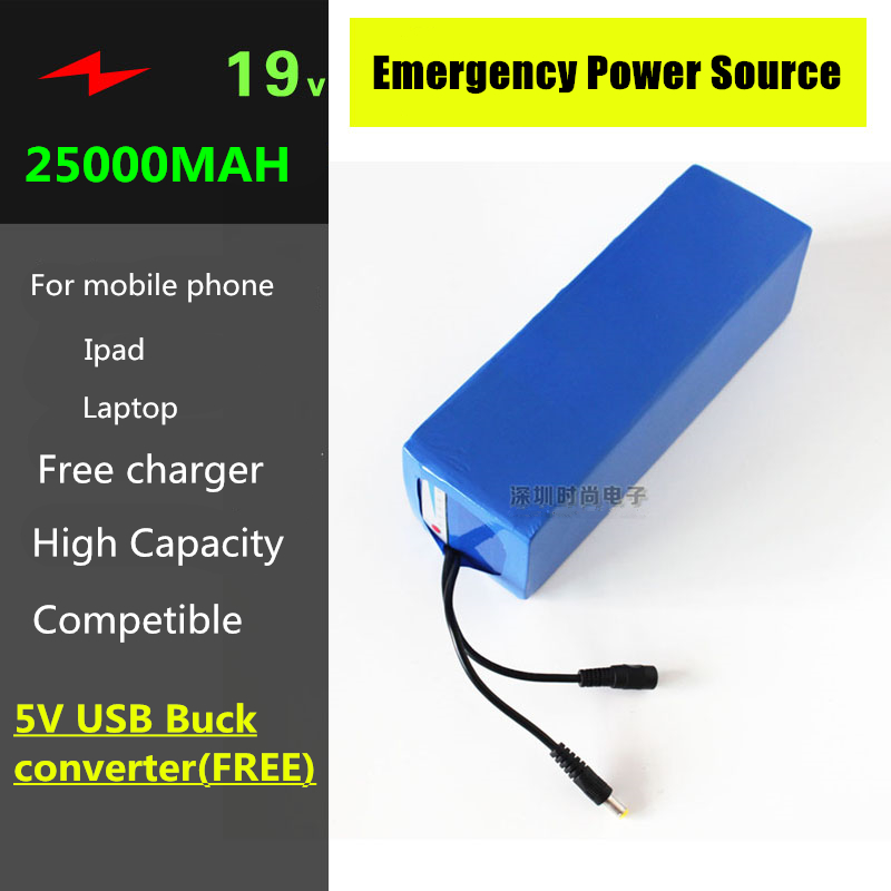 19V 25000MAH 5AH LiPO Lithium Battery with 5V USB Buck Converter & 10 connectors for Laptop , Mobile phones,tablet PC Power Bank 3 7v lithium polymer battery 925593 5200mah mobile power tablet pc diy page 1
