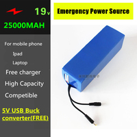 19V 25000MAH 5AH LiPO Lithium Battery with 5V USB Buck Converter & 10 connectors for Laptop , Mobile phones,tablet PC Power Bank