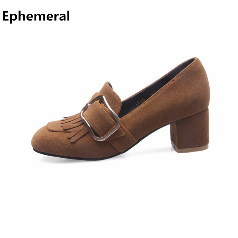 Fringe pumps with Buckle Square Toe Slip-Ons Women Nubuck Leather Thick Medium Heels loafers For Ladies Fashion Designer Shoes 2016 spring designer women shoes 6 colors thick heel patent leather slip on pumps brand designer quality dress shoes with buckle