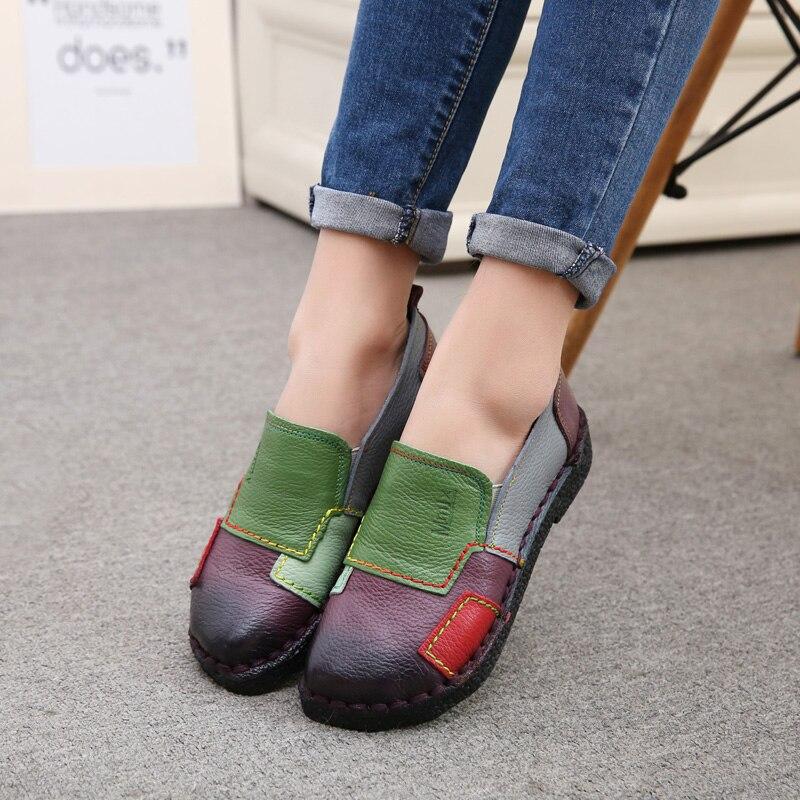 2017 Mujeres de La Manera Zapatos Mocasines de Cuero Genuino de Las Mujeres Colo