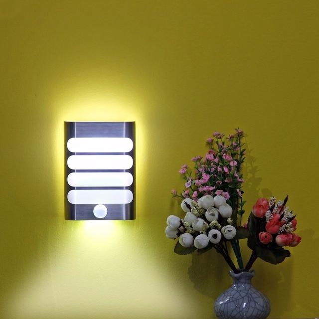 LED Luxury Aluminum Stick Anywhere Bright Motion Sensor Activated LED MAZ-TEK Wall Sconce Night Lighting Auto On/Off for Pathway