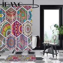 IBANO Mandala Shower Curtain Waterproof Polyester Fabric 180x180cm Bath 40x60cm Mat For The Bathroom And