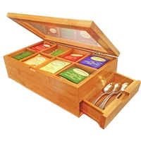 Tea Box Natural Chest with Clear Hinged Lid, 8 Storage Sections with Expandable Drawer