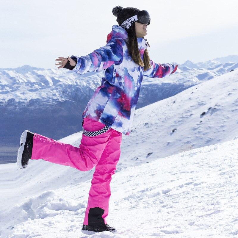 Nouveau costume De Ski Femmes Placage Double Conseil Coréenne En Plein Air Imperméable Coupe-Vent Chaud Respirant Hiver Épaississement Ski Veste Pantalon
