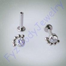 14G 16G Dahili Iplik Kulak Tragus Cartilalges düğme küpe G23 Titanyum Labert Percing Dudak göbek takısı