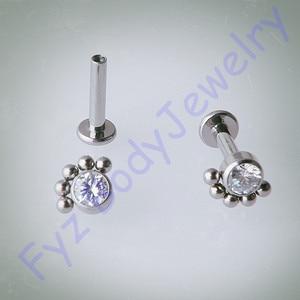 Image 1 - 14g 16g rosca interna orelha tragus cartilalges brinco g23 titânio labert lábio percing corpo jóias