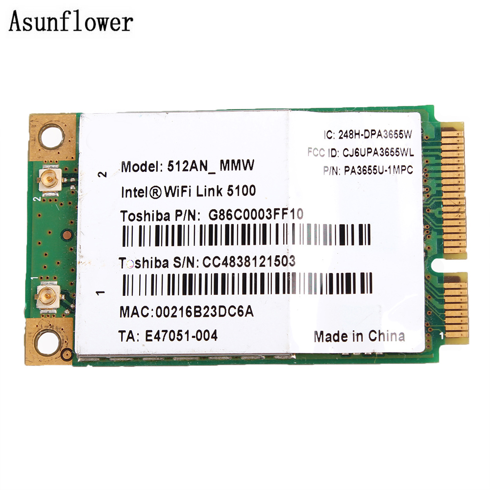 New Wireless Adapter Card WiFi Link 5100 (512AN_MMW) A/b/g/Draft-N PCIe Mini PA3655U-1MPC For Toshiba