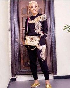 Image 3 - Conjuntos africanos con perlas nuevo africano con lentejuelas, Bazin elástico, pantalones holgados, estilo Rock Dashiki, manga famosa, traje para mujer