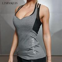 LINRAOQIAN Tank Top Women Summer Tops Gyms Sexy Lace Tank Tops Women Fashion Y Back Clothes Fitness Bodybuilding Clothes Tops