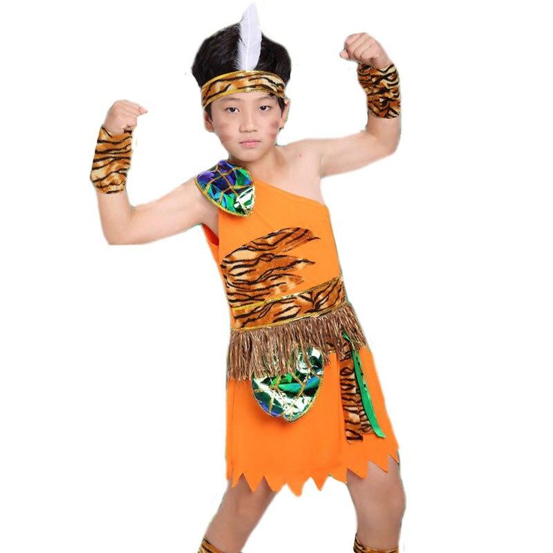 Billiger Preis Junge Halloween Cosplay Kostüm Kinder Wavage Caveman Kostüme Jungen Leopard Feuerstein Afrikanische Tribal Hunter Indische Kleidung Mädchen Ausgereifte Technologien