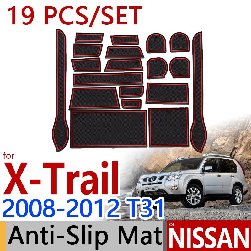 Pour Nissan X-trail T31 2008-2012 Anti-Slip En Caoutchouc Tasse Coussin Porte Tapis 19 Pcs X piste 2009 2010 Accessoires Voiture Style Autocollant