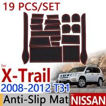 for Nissan X-Trail T31 2008-2012 Anti-Slip Rubber Cup Cushion Door Mat 19Pcs X Trail 2009 2010 Accessories Car Styling Sticker
