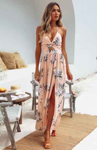מכירה לוהטת Boho קיץ אלגנטי פרחוני הלטר V צוואר ארוך שמלת נשים סקסי תחבושת ערב מסיבת שמלות קיצית חוף שמלה