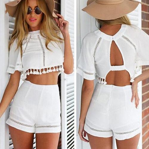 Verano mujer ropa Outfit 2 unidades conjunto blanco Crop