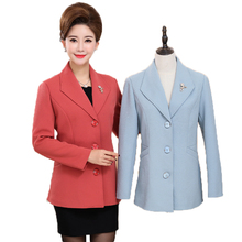 WAEOLSA Middle Aged Woman Elegant Blazer Lady Red Green Blue Basic Jacket Suits Women Office Apparel Short Blazers 3XL 4XL Coats