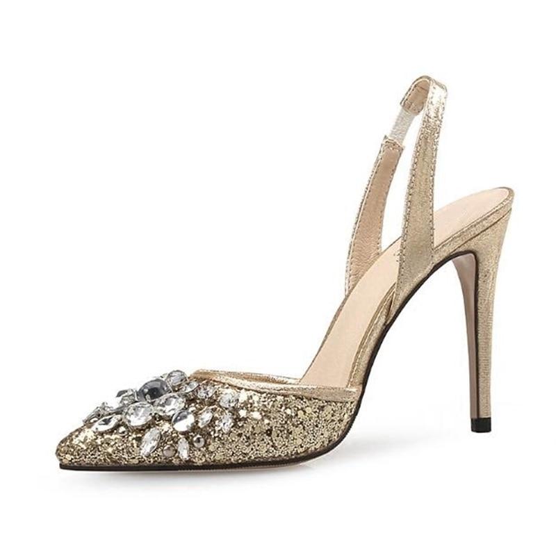 Здесь продается  2018 Hot Selling Gold Glitter Slingback Pumps Pointy Toe Crsytal Embellished High Heel Dress Shoes Sexy Bride Heels Pumps  Обувь