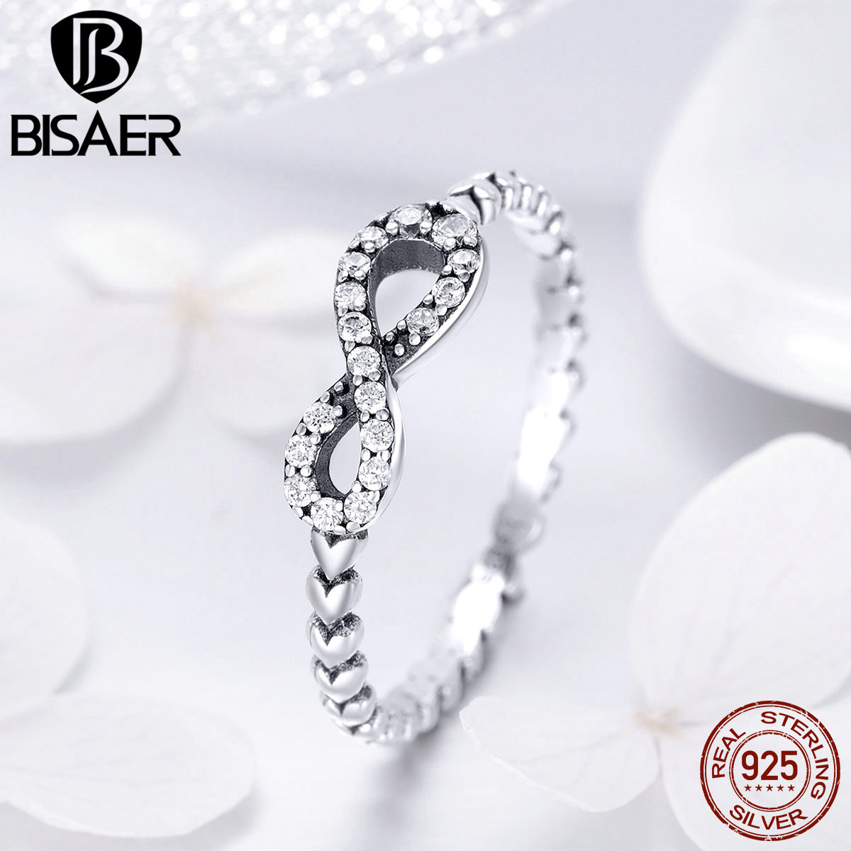 925 Sterling Silver Forever Infinity Ring with CZ