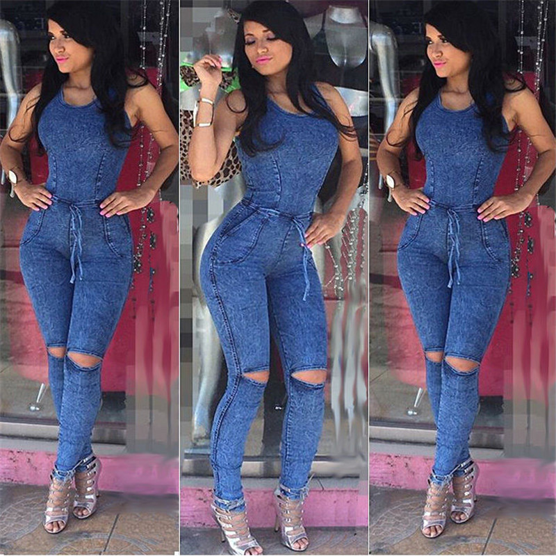 a831bfa1a680 2017 Sexy Lace Up Bodycon Denim Rompers Jeans Bodysuit Jumpsuits Women  Overalls Jumpsuit Girls Rompers Full Length Pants S-XL