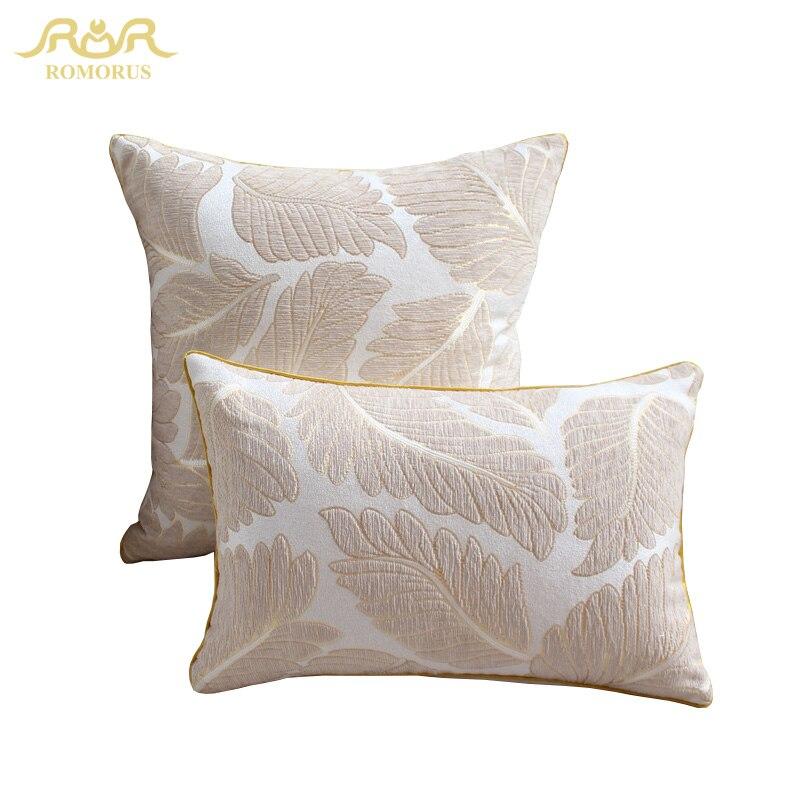 ROMORUS Fashion Gold Leaf Print Cushion Covers for Sofa Car 45*45cm Chenille Fabric Pillow Cases Throw Cushion Cover Pillowcase