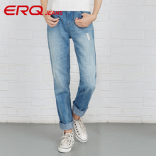 ERQ Woman Jeans Plus Size Fashion Blue Women Mid Waist Casual Harem Jeans Female Cotton Harem Pants Loose Trousers 907003