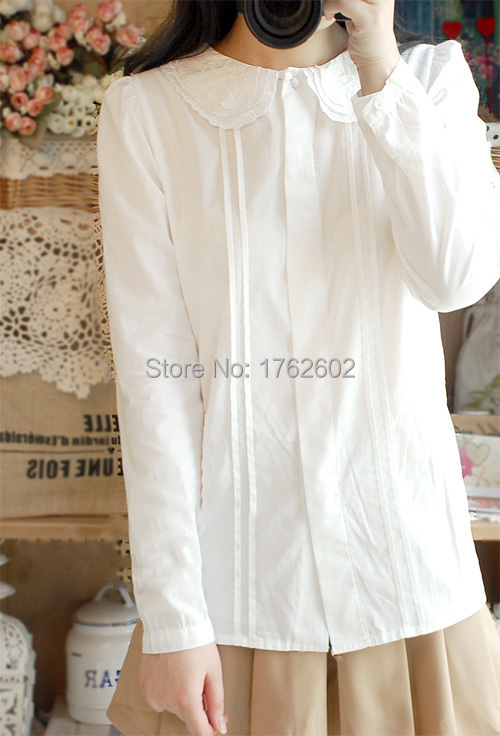 78d8155cb5d684 Cute Womens Lolita French Toast Blouse 3Layers Peter Pan Collar White Shirt  Long Sleeve Free Shipping