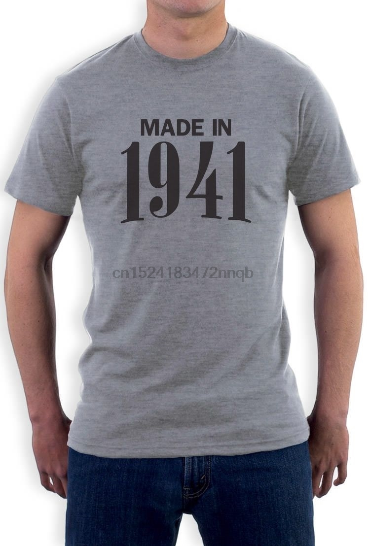 Made In 1941 75th Birthday Gift Idea Retro Cool T Shirt Novelty Present Men Print Cotton Short Sleeve Shirts From Mens Clothing