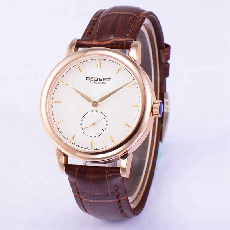 Debert 40mm Mens Automatic Watch Rosegold Case White Dial Watches Seagull Movt Brown Leather Strap Wristwatch DT7031BRDRDebert 40mm Mens Automatic Watch Rosegold Case White Dial Watches Seagull Movt Brown Leather Strap Wristwatch DT7031BRDR