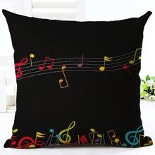 Creative Vintage Musical Notes Decorative Pillowcase Cotton Linen Piano Pillow Case For Sofa Cover Retro Note Pillow Cover