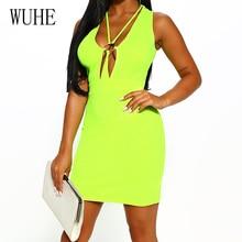 WUHE Women Summer Sexy Deep V-neck Sleeveless Mini Dress Elegant Hollow Out Bodycon Bandage Yellow Blue Dress Robe Longue Femme цена и фото