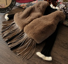 2016 New Autumn Winter Europe and the United States children's clothing thicker imitation fur grass tassel vest small jacket