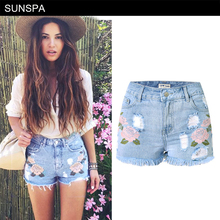 ФОТО sunspa embroidery denim shorts floral high waist jeans short femme frayed shorts for women summer shorts fashion 2017