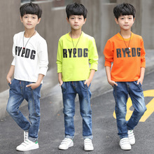 Kids boys spring / autumn lengthy sleeves T-shirt 2017 new child boy clothes vogue letter wild t-shirt three/four/5/6/7/eight/9/10/11/12/13