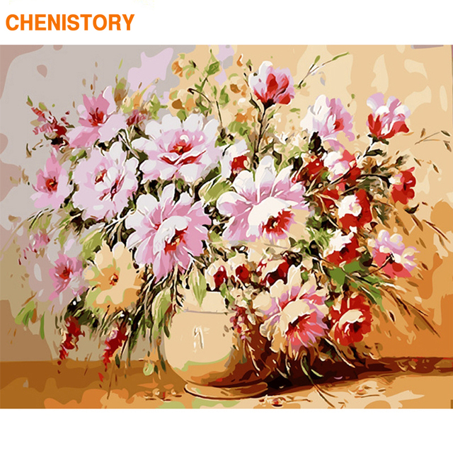 CHENISTORY Frame Flowers DIY Painting By Numbers Kits Acrylic Paint On Canvas Handpainted Oil Painting For Home Decor Wall Arts